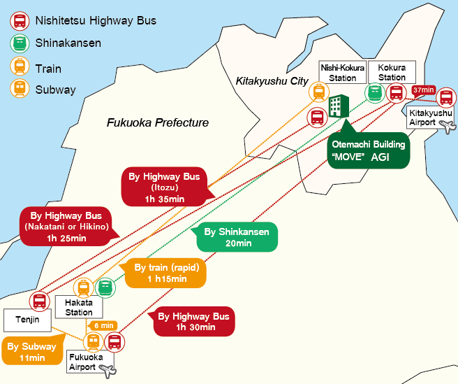 accsess map from Fukuoka city